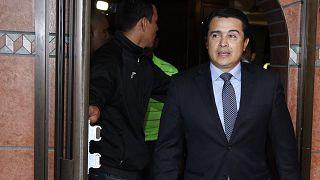 """Juan Antonio """"Tony"""" Hernández llega a una conferencia de prensa en Tegucigalpa, Honduras"""