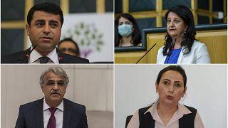 HDP Eş Genel Başkanları Pervin Buldan (sağda üstte) ve Mithat Sancar (sol atta), önceki eş genel başkanlar Figen Yüksekdağ (sağ altta) ve Selahattin Demirtaş (sol üstte)