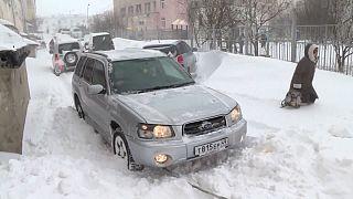 Spring snow in Magadan