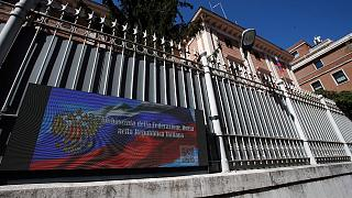 A view of the Russian Embassy in Rome, Wednesday, March 31, 2021.
