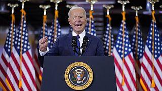 Joe Biden speaking at Carpenters Pittsburgh Training Center, March 31, 2021, in Pittsburgh