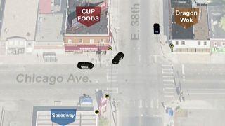 خريطة تظهر موقع كاميرات المراقبة عند مفترق جدت فيه واقعة ضغط ضابط شرطة مينيابوليس السابق ديريك شوفين بركبته على رقبة المواطن جورج فلويد، يوم محاولة اعتقاله في 2020/05/25