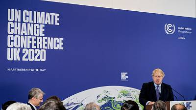 Britain's Prime Minister Boris Johnson speaks during the launch of UK-hosted COP26 UN Climate Summit in London.