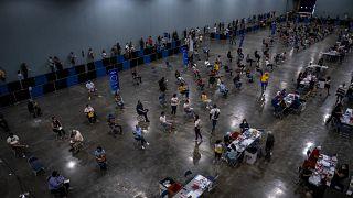 Puerto Riko'da bir aşılama alanı