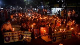 Candlelight vigil in Yangoon marks coup anniversary