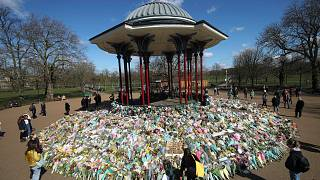 Floral tributes for slain woman Sarah Everard, at the bandstand in Clapham Common, London