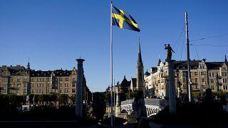 Schwedische Flagge in Stockholm