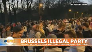 Crowds gather in Brussels for 'restriction's free festival' on April fool's day