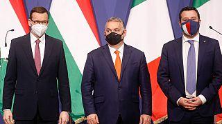 Üç sağcı lider Macaristan'ın başkenti Budapeşte'de bir araya geldi