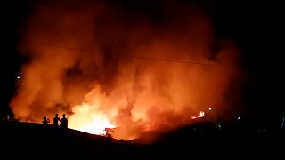 Fire in market near Rohingya camp in Bangladesh
