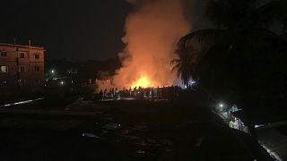 حريق مخيم لاجئين من الروهينغا في بنغلاديش