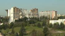 Demolition of housing project in French city of Lyon