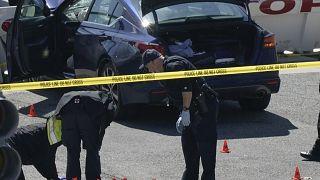 Der Tatort am US-Kapitol. Im Hintergrund steht das Auto des Angreifers