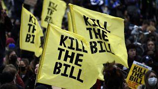 تظاهرات علیه لایحه قانونی تقویت اختیارات پلیس بریتانیا در لندن