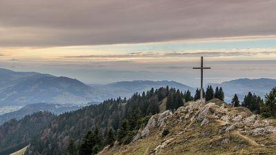 A cross on a hill in Hochhädrich, Austria
