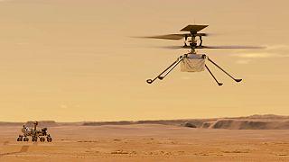 Illustration der NASA von Helikopter Ingenuity, der auf dem Mars fliegen soll
