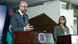 Mr Charles MICHEL, President of the European Council; Mrs Najla MANGOUSH, Libyan Minister of Foreign Affairs