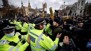 Police officers and protestors tussle during a 'Kill The Bill' protest against the Government's Police, Crime, Sentencing and Courts Bill, in central London.