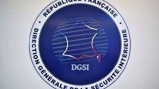 A picture shows the logo of the French General Directorate for Internal Security at its headquarters in Paris on August 31, 2020.