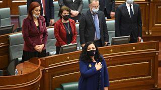 Vjosa Osmani - neue Präsidentin des Kosov bei der Amtseinführung