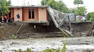 Une maison détruite à la suite d'inondations à Dili, Timor oriental, le 5 avril 2021