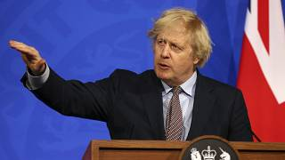 Britain's Prime Minister Boris Johnson speaks during a media briefing on COVID-19 from Downing Street's media briefing room in London - March 29, 2021
