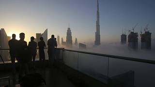 Дубайские небоскрёбы в тумане, вид с балкона (декабрь 2016 года)