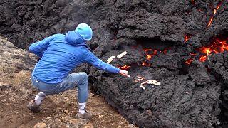 شاهد: الطهي على نيران الحمم البركانية في أيسلندا