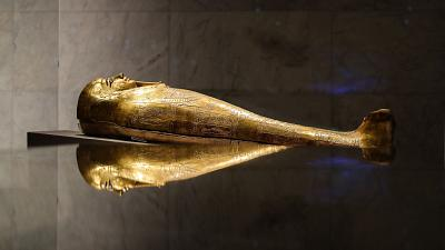 A golden sarcophagus is exhibited at Egypt's new National Museum of Egyptian Civilisation (NMEC).