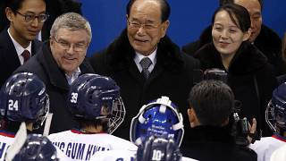 In this Feb. 10, 2018, file photo, IOC president Thomas Bach, second from left, and Kim Yo Jong, right, sister of North Korean leader Kim Jong Un, at the 2018 Winter Olympics.