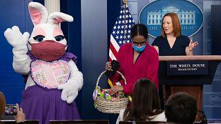 أرنب عيد الفصح يزور الصحفيين خلال مؤتمر صحفي بالبيت الأبيض