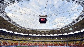 A magyar válogatott tagjai edzenek a Románia-Magyarország Európa-bajnoki selejtező mérkőzés előtt a bukaresti Nemzeti Stadionban 2014. október 10-én