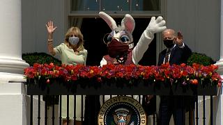 Joe and Jill Biden pose with the Easter bunny