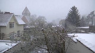Апрельский снегопад в Бельгии