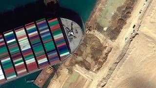 This satellite image from Maxar Technologies shows the cargo ship MV Ever Given stuck in the Suez Canal near Suez, Egypt