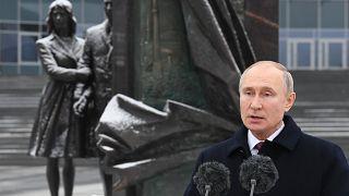 الرئيس الروسي فلاديمير بوتين يهنئ ضباط جهاز الأمن في بداية إجازتهم الرسمية بمقر المخابرات الخارجية في موسكو - 2020