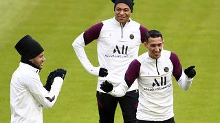 Les joueurs du PSG à l'entraînement, à la veille de leur rencontre contre le Bayern Munich, Allemagne, le 6 avril 2021