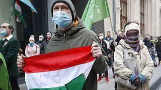 A man holds a Hungarian flag during a protest in Budapest, Hungary, Monday, March 15, 2021.