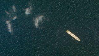 تصویر ماهوارهای از کشتی ساویز در نزدیکی سواحل یمن، ۱ اکتبر ۲۰۲۰