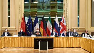 Diplomats of the EU, China, Russia and Iran at the start of talks at the Grand Hotel in Vienna on April 6, 2021