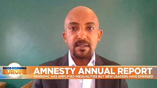 Amnesty Internationa's Research and Advocacy Director Netsanet Belay speaking to Euronews