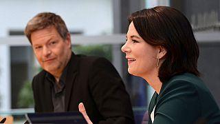 Annalena Baerbock und Robert Habeck während einer Pressekonferenz in Berlin, 15.03.2021