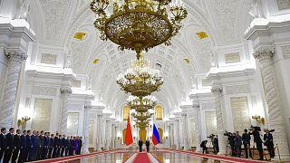 Hszi Csin-ping kínai és Vlagyimir Putyin orosz elnök találkozója Szentpéterváron, 2019-ben