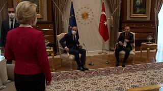 Von der Leyen and Michel during their meeting with President Erdoğan.