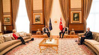 Ursula von der Leyen, Charles Michel, Recep Tayyip Erdoğan
