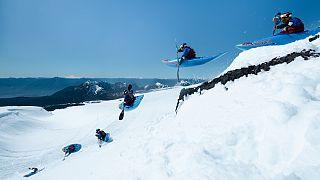 Aniol Serrasolses snow kayaks in Pucon, Region de la Araucania, Chile