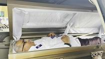 Candidate kicks off campaign in northern Mexico inside a coffin