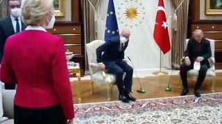 AB Komisyonu Başkanı Ursula von der Leyen ile AB Konseyi Başkanı Charles Michel, Ankara'da Cumhurbaşkanı Recep Tayyip Erdoğan ile görüştü