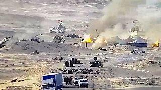 احتراق الخيم التي تستخدمها جبهة البوليساريو بالقرب من الحدود الموريتانية في منطقة الكركرات الواقعة في الصحراء الغربية على طول الطريق المؤدي إلى موريتانيا.