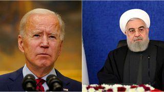 ABD Başkanı Joe Biden (solda) Trump dönemi iptal edilen 2015 tarihli nükleer anlaşmaya geri dönmek istiyor.